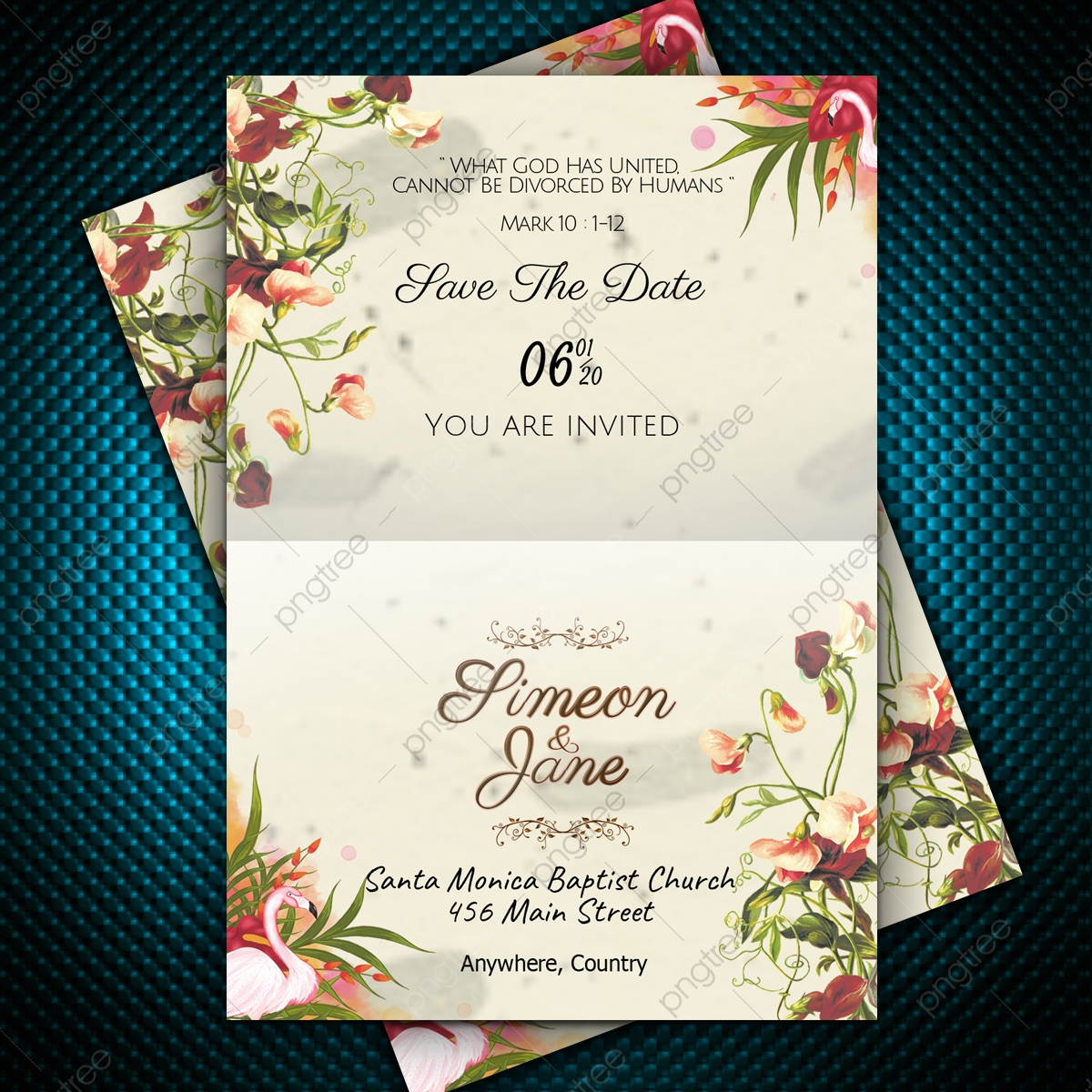 Classic Vintage Design Wedding Invitation Card With Cute Floral Decoration Template Download On Pngtree