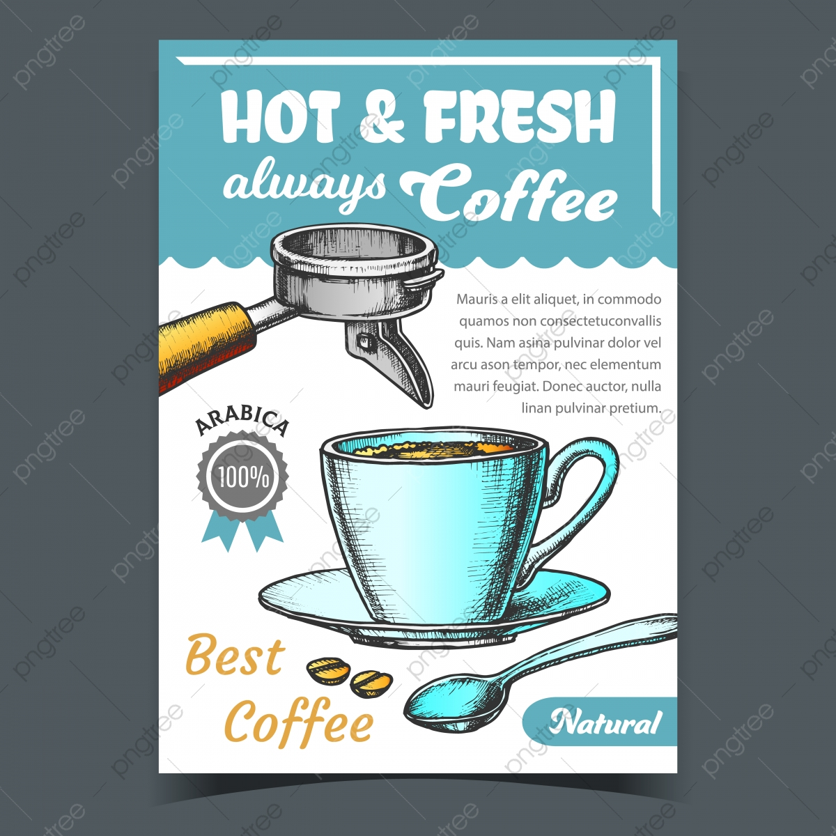 Coffee Cup On Saucer With Spoon Banner Vector Template Download On Pngtree