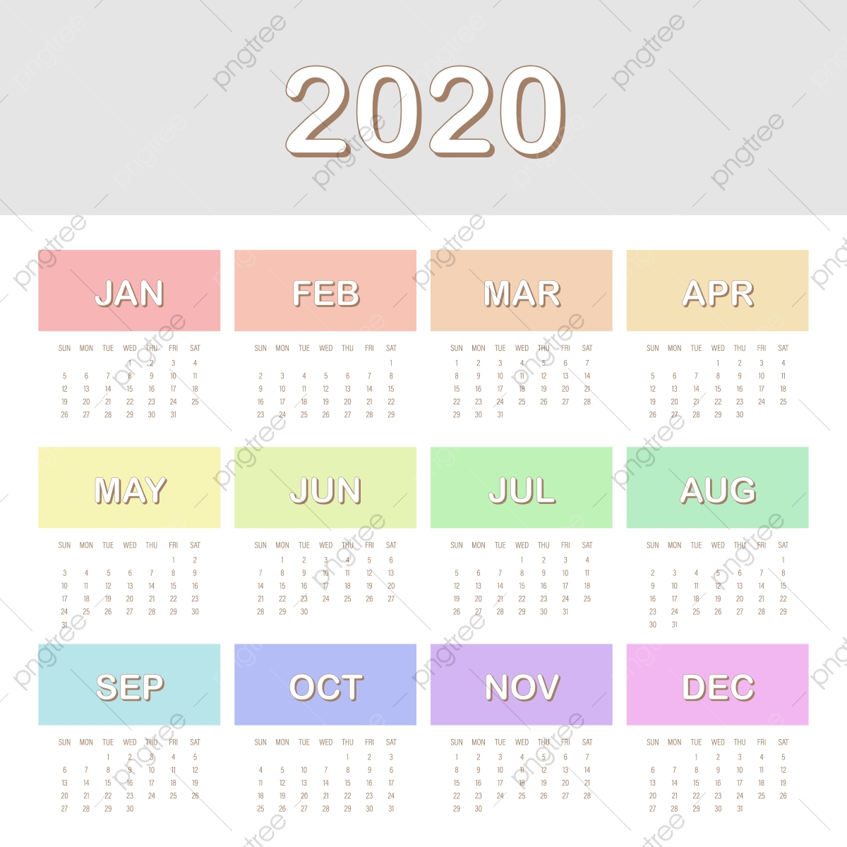 تصميم تقويم 2020 الملونة قالب تحميل مجاني على ينغتري