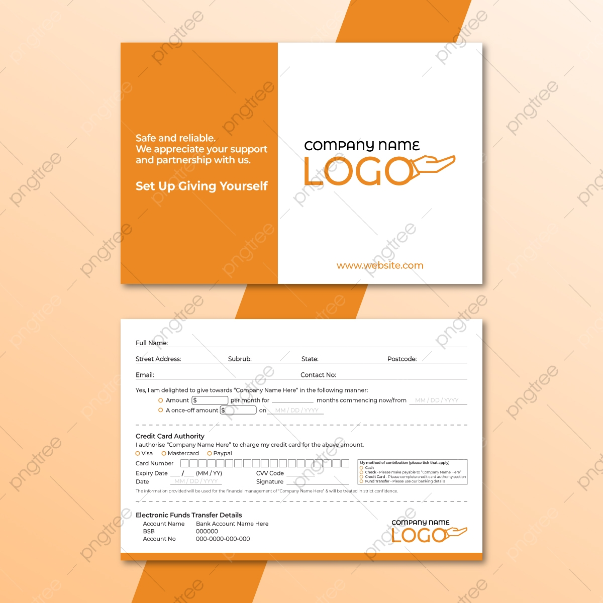 Corporate Donation Pledge Card For Fundraising Template Download With Regard To Fundraising Pledge Card Template