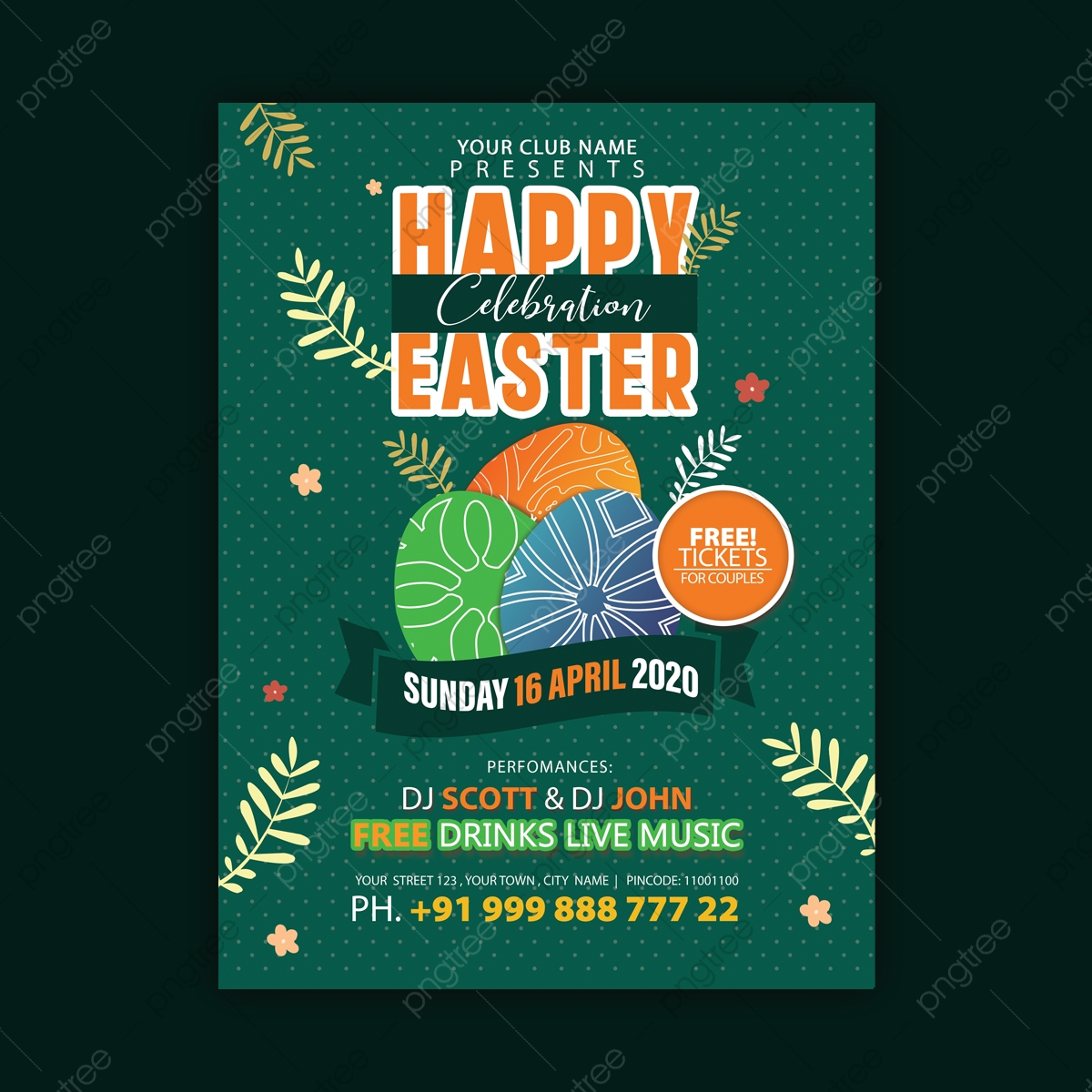 Easter Party Invitation Flyer Template Design Template Download On Pngtree