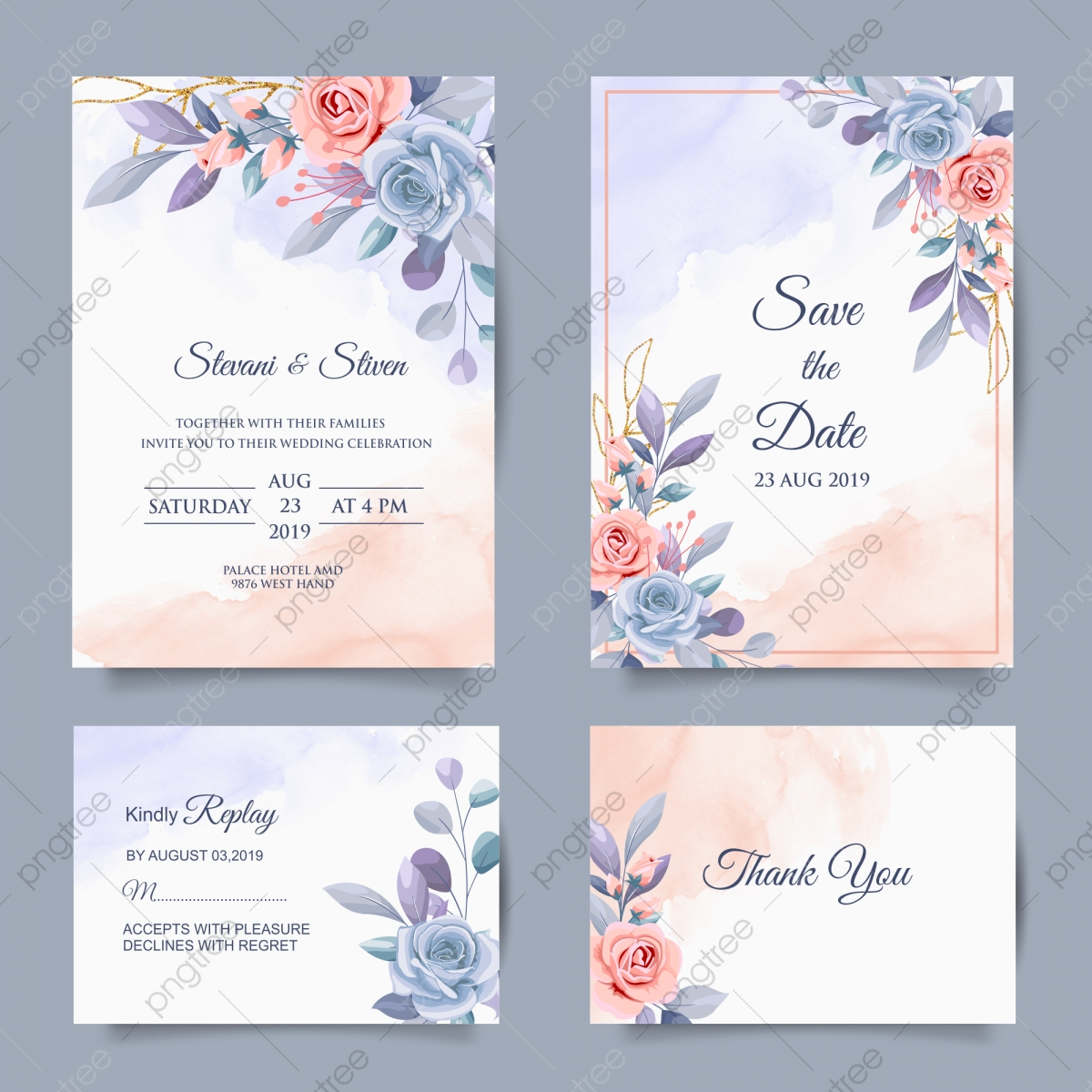 Elegant Set Wedding Invitation Template Template Download on Pngtree