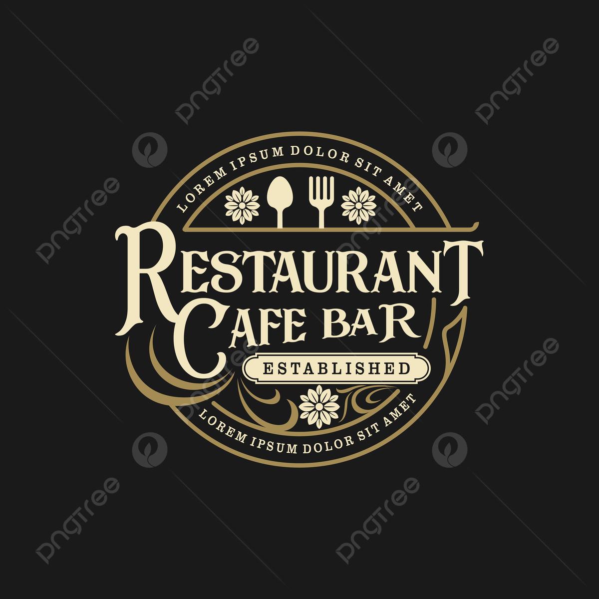 Food Drink Logo Design Vintage Style Restaurant And Cafe Bar Template Download On Pngtree