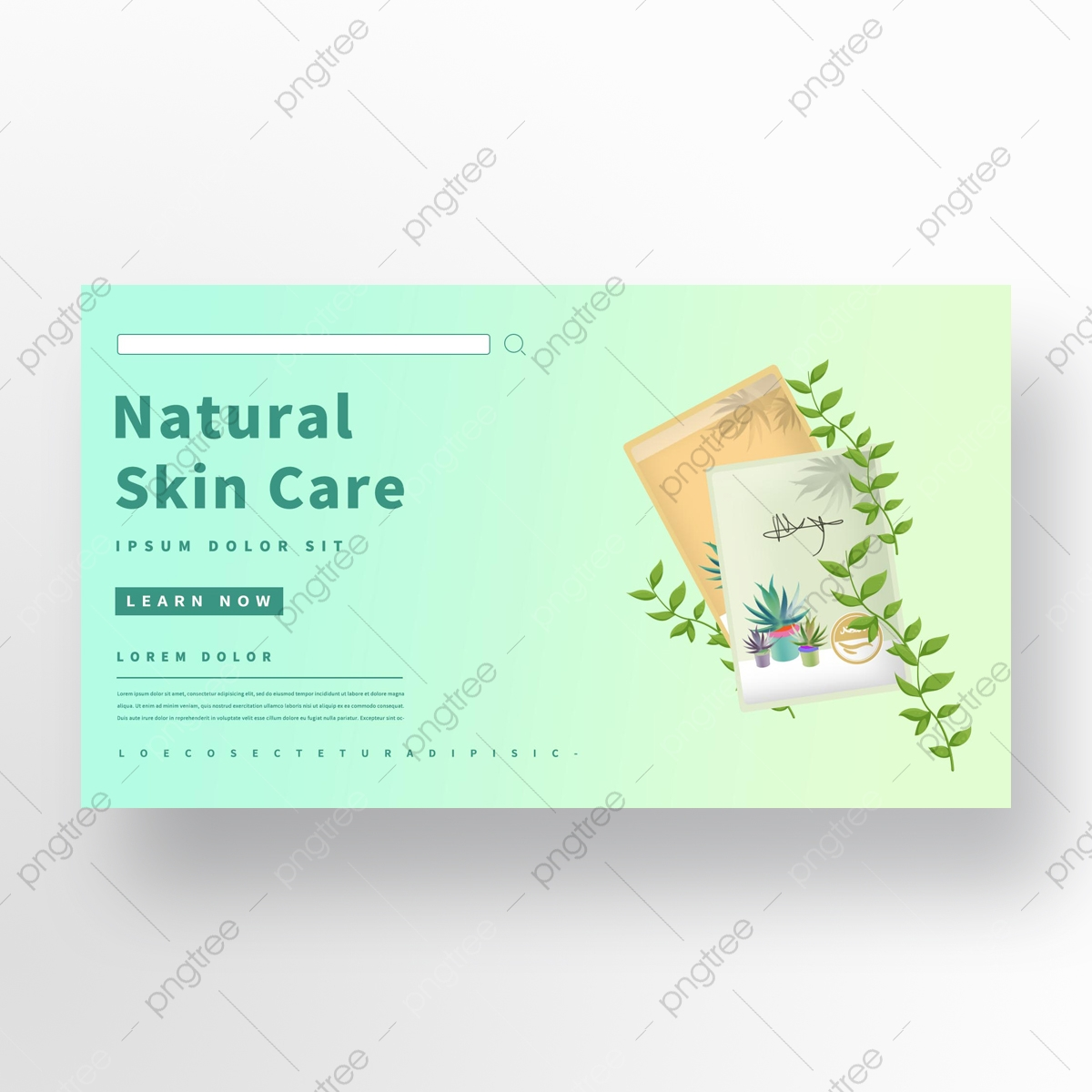 Green Fresh Plant Flower Mask Facial Banner Promotion Page Template For Free Download On Pngtree
