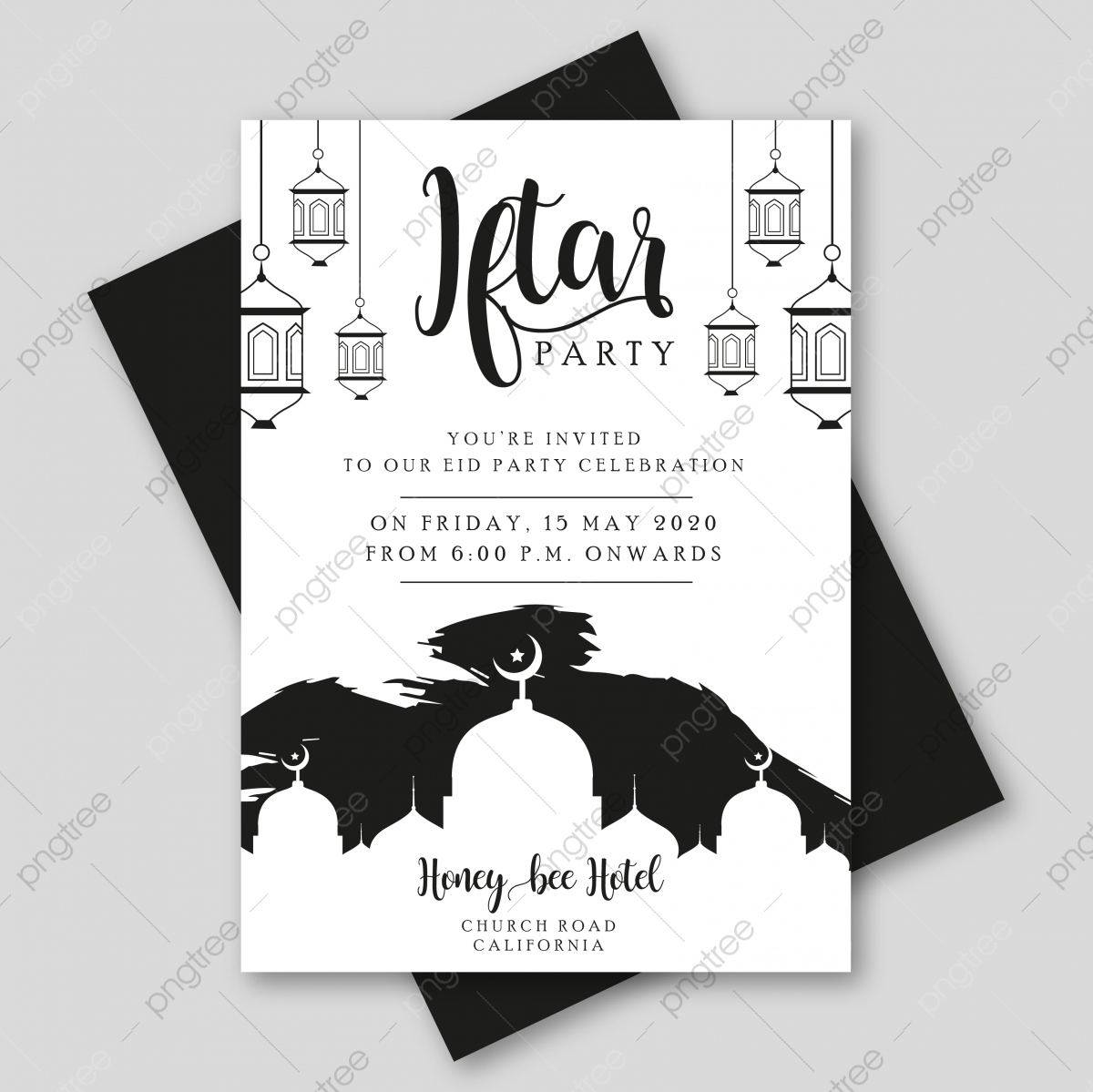 Iftar Party Invitation Template With Lantern And Mosque Template Download On Pngtree