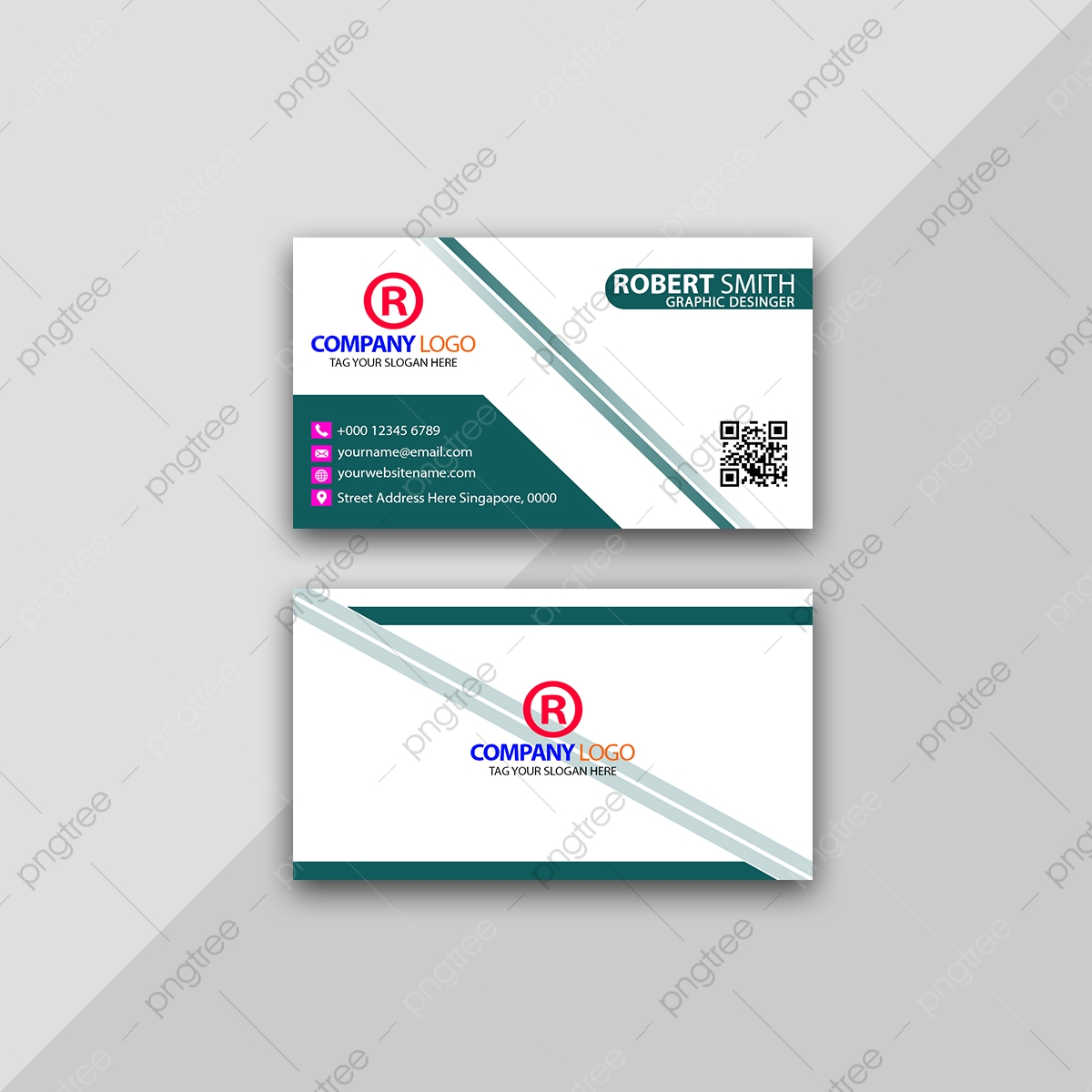 Minimal Business Card Template With Qr Code Template Download on ...