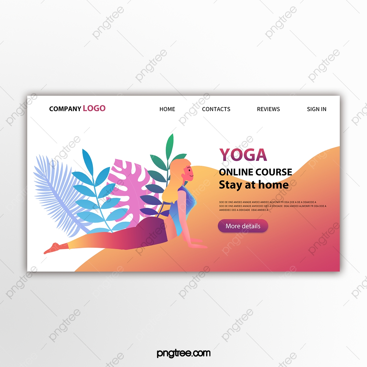 Minimalist Yoga Online Tutorial Web Design Template For Free Download On Pngtree
