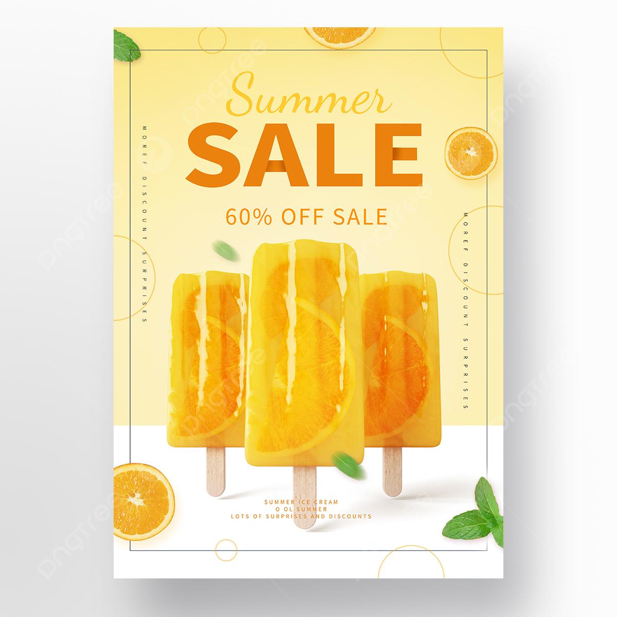 Poster Promosi Es Krim Jeruk Popsicle Segar Musim Panas Templat Untuk Unduh Gratis Di Pngtree