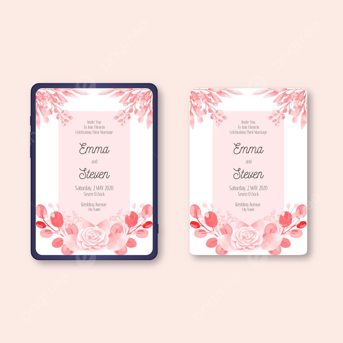 Pink Flora Mewah Indah Romantis Template Undangan Pernikahan Elektronik Vektor Dengan Cat Air Templat Untuk Unduh Gratis Di Pngtree