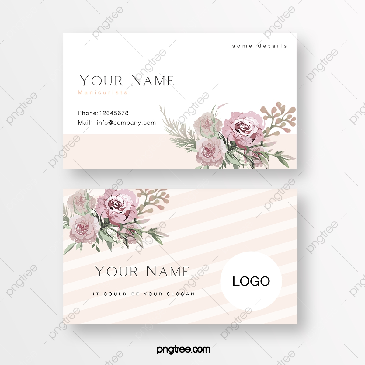 Pink Simple Flower Business Card Template Download on Pngtree