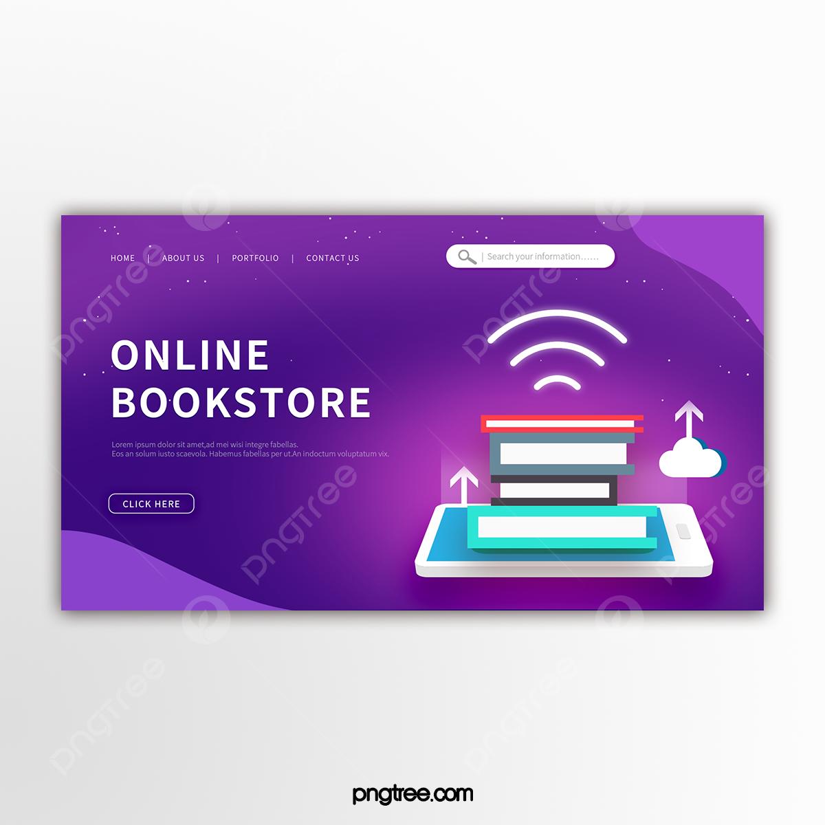 Banner Promosi Toko Buku Online Teknologi Ungu Templat Untuk Unduh Gratis Di Pngtree