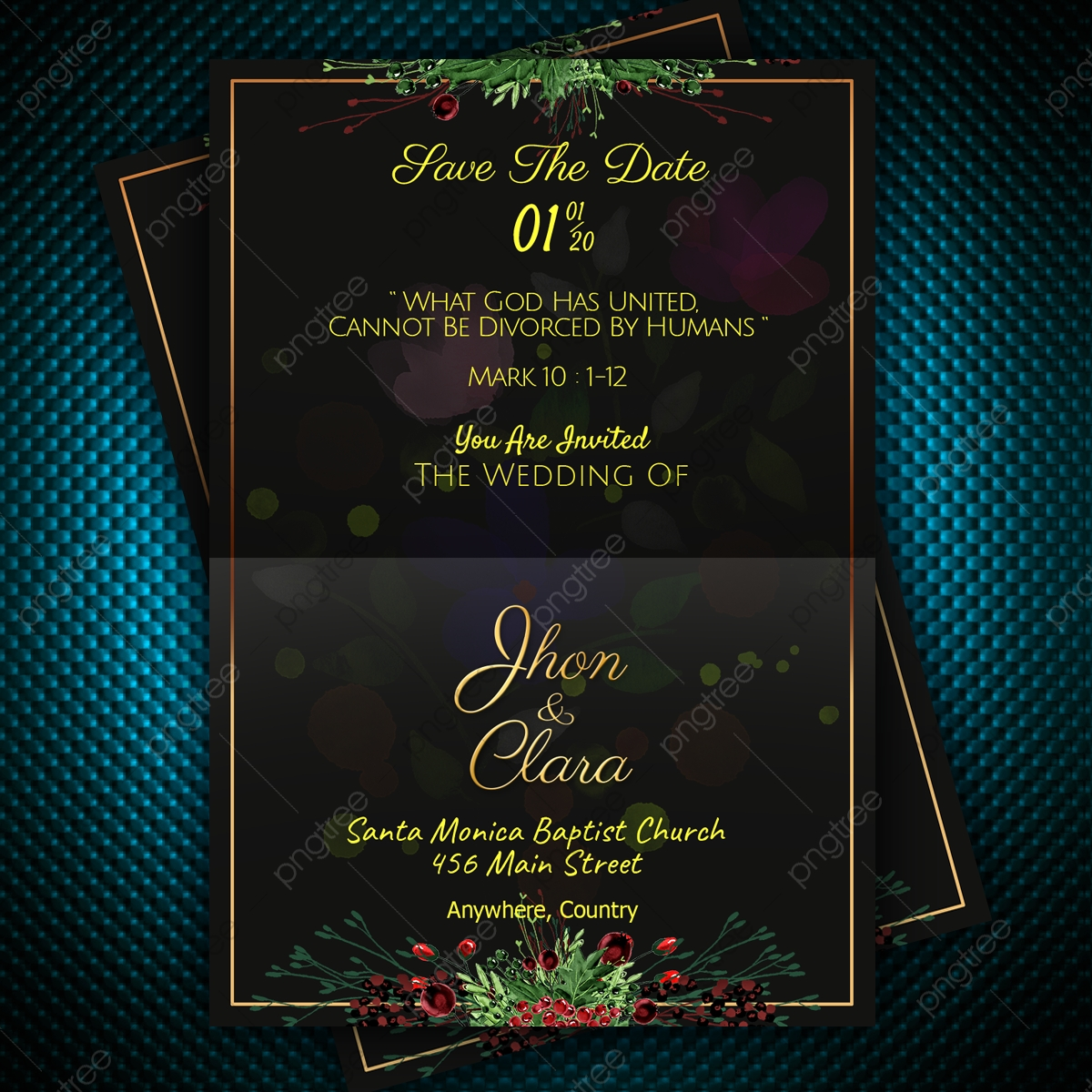 Simple Elegant Design Wedding Invitation Card With Yellow Text In Dark Background Template For Free Download On Pngtree