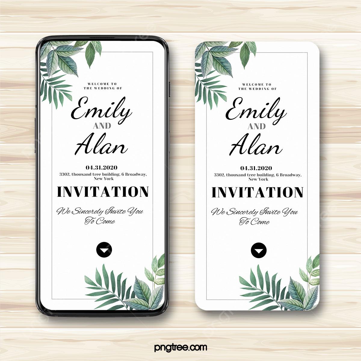 Gambar Jemputan Elektronik Perkahwinan Tanaman Hijau Segar Sederhana Templat Untuk Muat Turun Percuma Di Pngtree