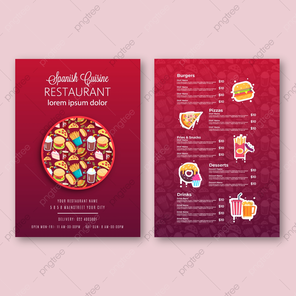 Vector Restaurant Brochure Menu Design Fast Food Menu Brochure Design Vector Template In A4 Size Flyer Baner And Layout Design Food Concept Vector Cafe Template With Hand Drawn Graphic Food Flyer Template