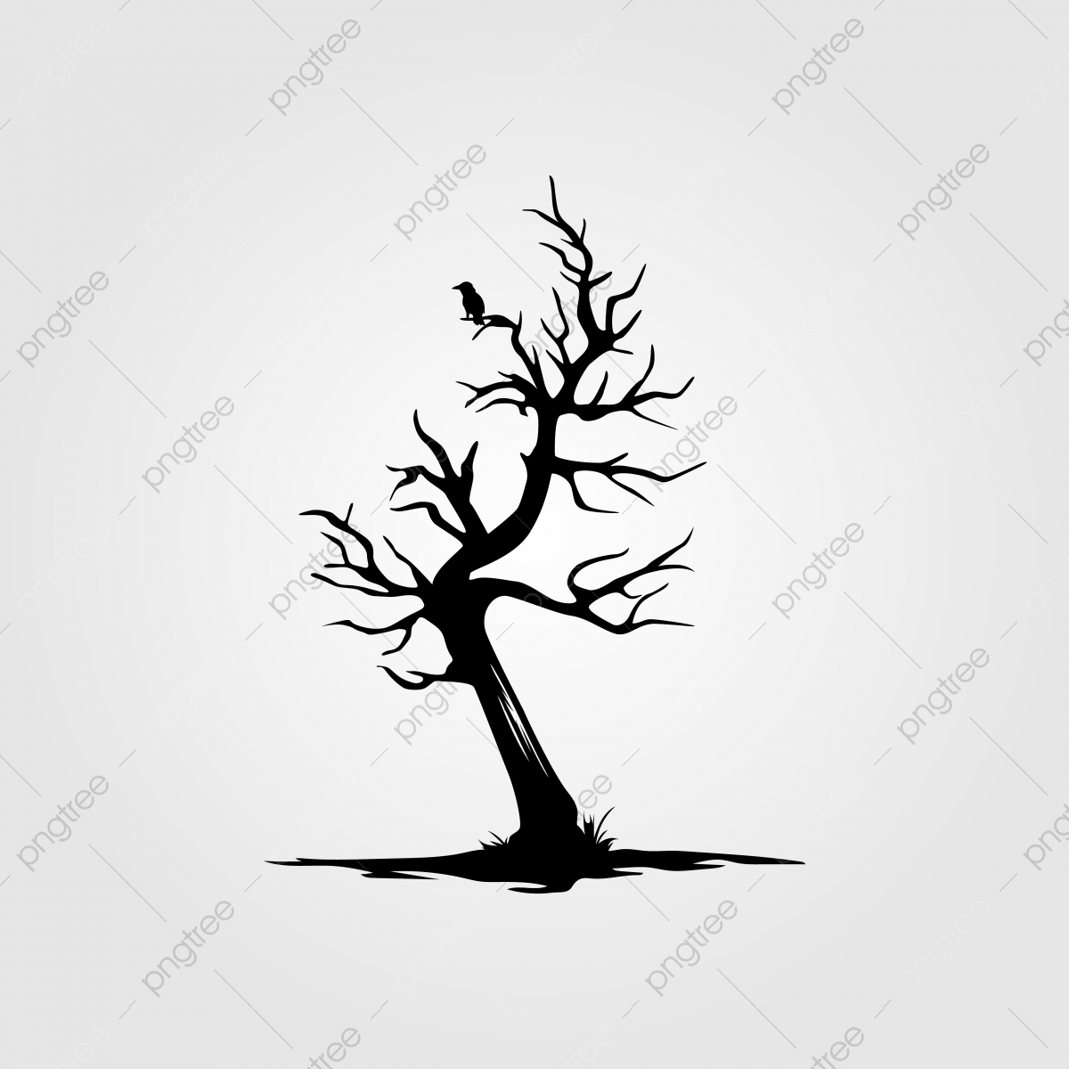 Vintage Dead Tree With Alone Bird Silhouette Design Illustration Template Download On Pngtree