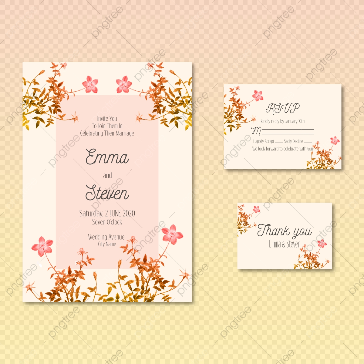 Watercolor Creamy Wedding Invitation Card Template Set With Golden Floral  Decoration Vector Illustration Template for Free Download on Pngtree
