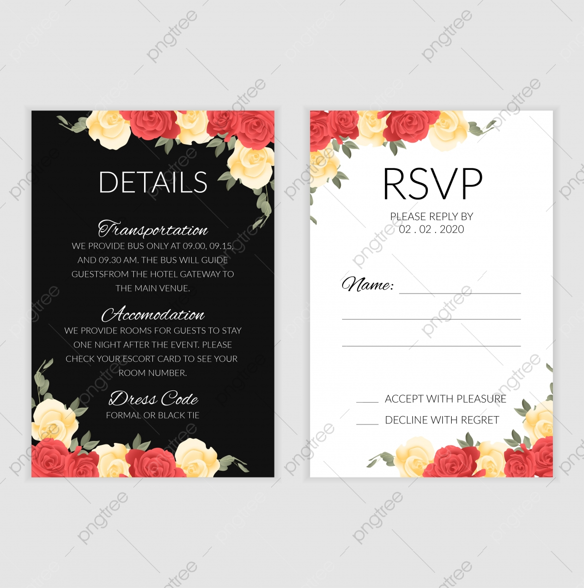 Wedding Rsvp Cards Template from png.pngtree.com