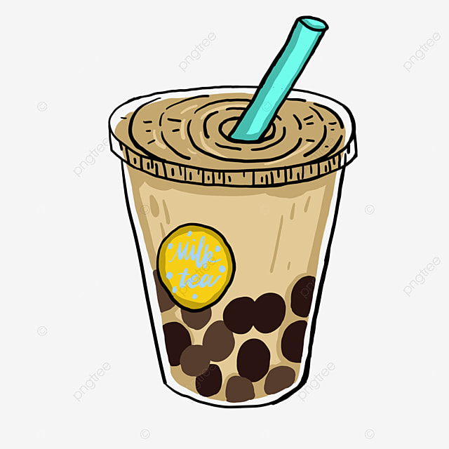 brown hand drawn cartoon bubble tea with straw milk tea drink brown png transparent clipart image and psd file for free download brown hand drawn cartoon bubble tea