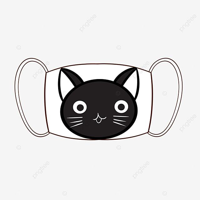 Gambar Kucing Lucu Hitam Yang Dilukis Dengan Tangan Di Topeng Putih Putih Topeng Topeng Kartun Png Transparan Clipart Dan File Psd Untuk Unduh Gratis