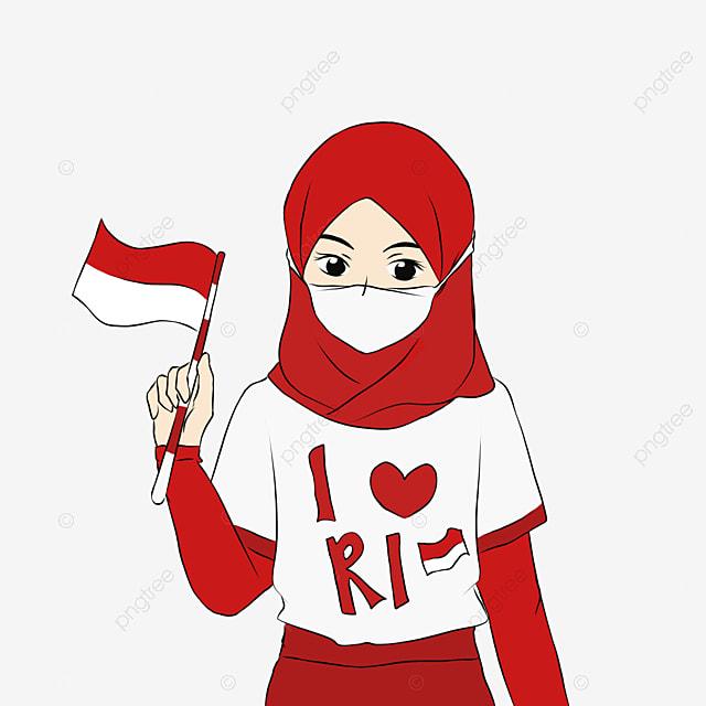Gadis Berhijab Memakai Topeng Saat Merayakan Hari Kemerdekaan Indonesia Dengan Panduan Keselamatan Normal Baru Covid 19 Digambar Tangan Gadis Jilbab Hari Kemerdekaan Indonesia Png Transparan Gambar Clipart Dan File Psd Untuk Unduh