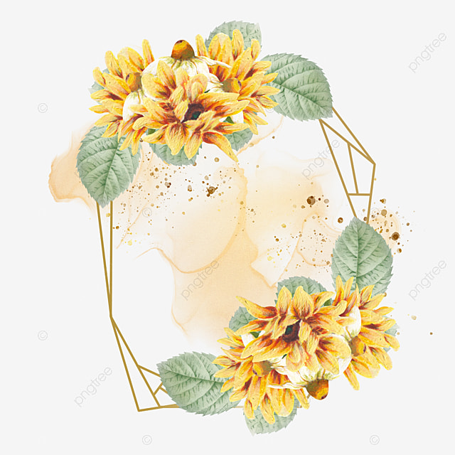 Watercolor Sunflower And Chamomile Golden Frame For Wedding Invitations, Sunflower, Rustic, Watercolor PNG and PSD