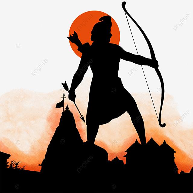 Hindu Temple Ram Navami Celebration Silhouette, Bow And Arrow, Sacred, Sun PNG and PSD