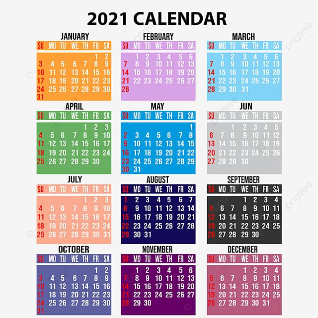 Gambar Kalender 2021 Dengan Desain Warna Warni, 2021 ...