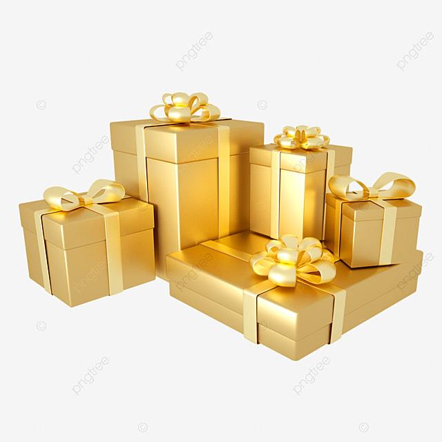 3d golden birthday gift box combination