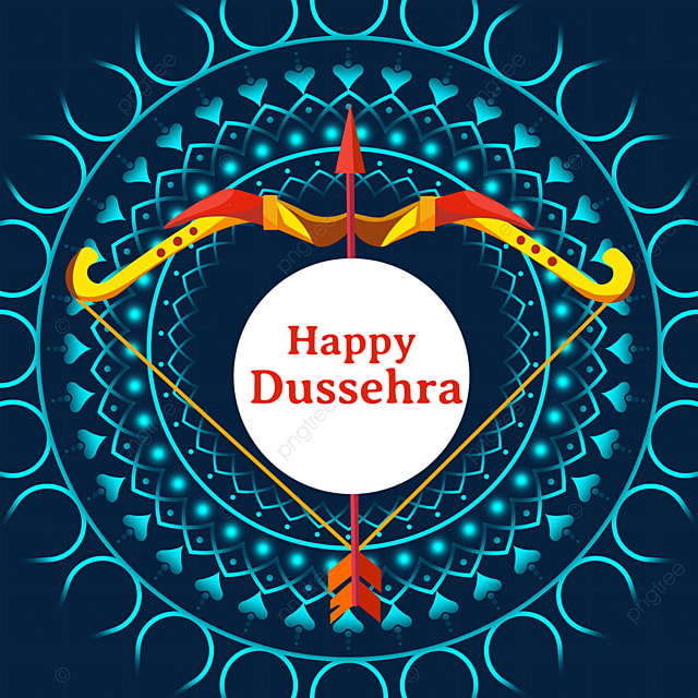 dussehra blue shading multicolor bow and arrow