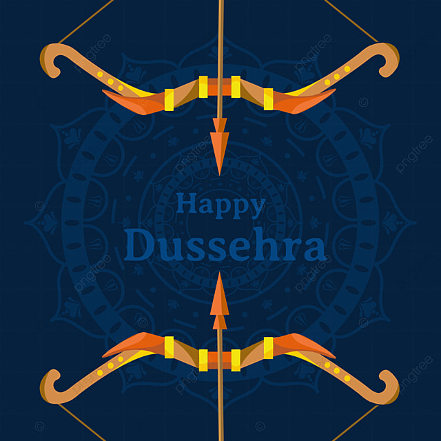 dussehra blue shading symmetrical bow and arrow elements