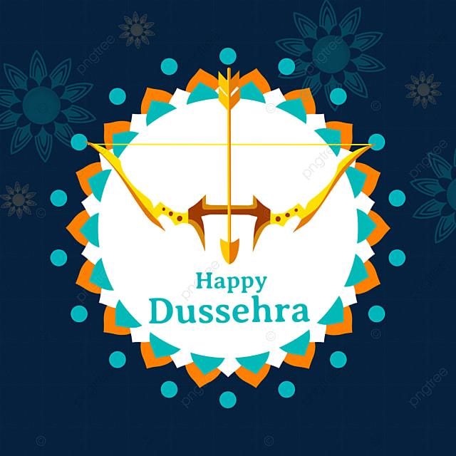 dussehra creative border golden bow and arrow