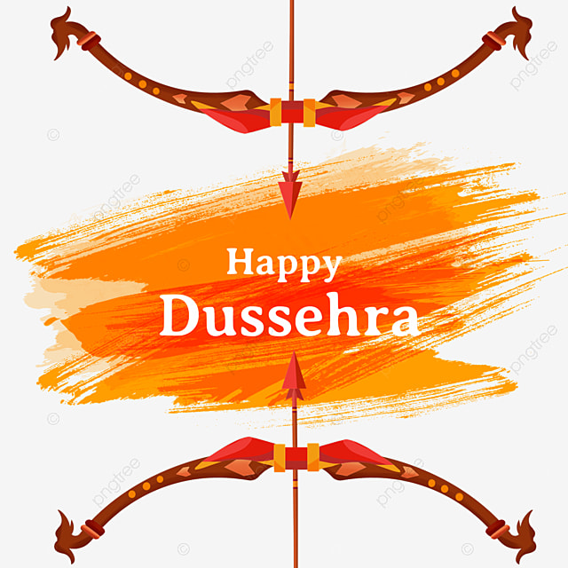 dussehra ink brush red bow and arrow