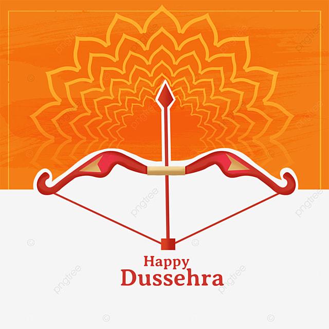 dussehra orange petal shading bow and arrow element