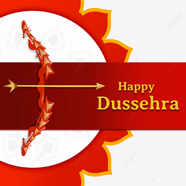 dussehra red gradient background creative bow and arrow