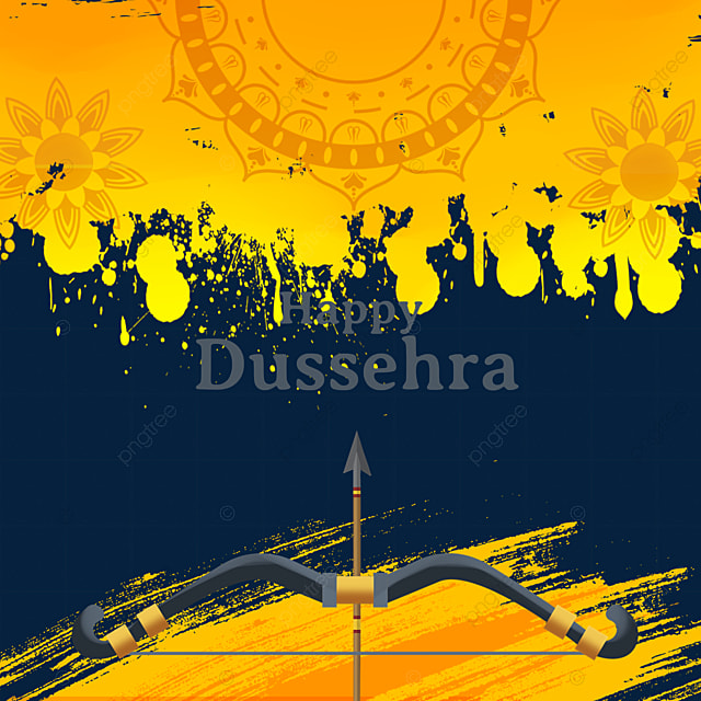 dussehra yellow gradient ink bow and arrow element