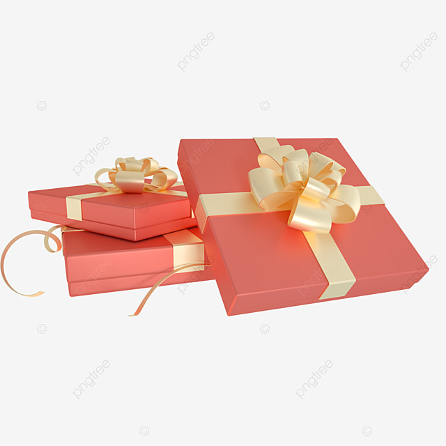 3d holiday decoration red gift box