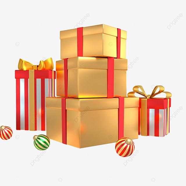 3d christmas golden decoration gift box