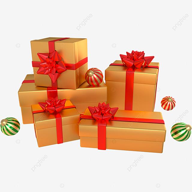 3d golden christmas decoration gift box