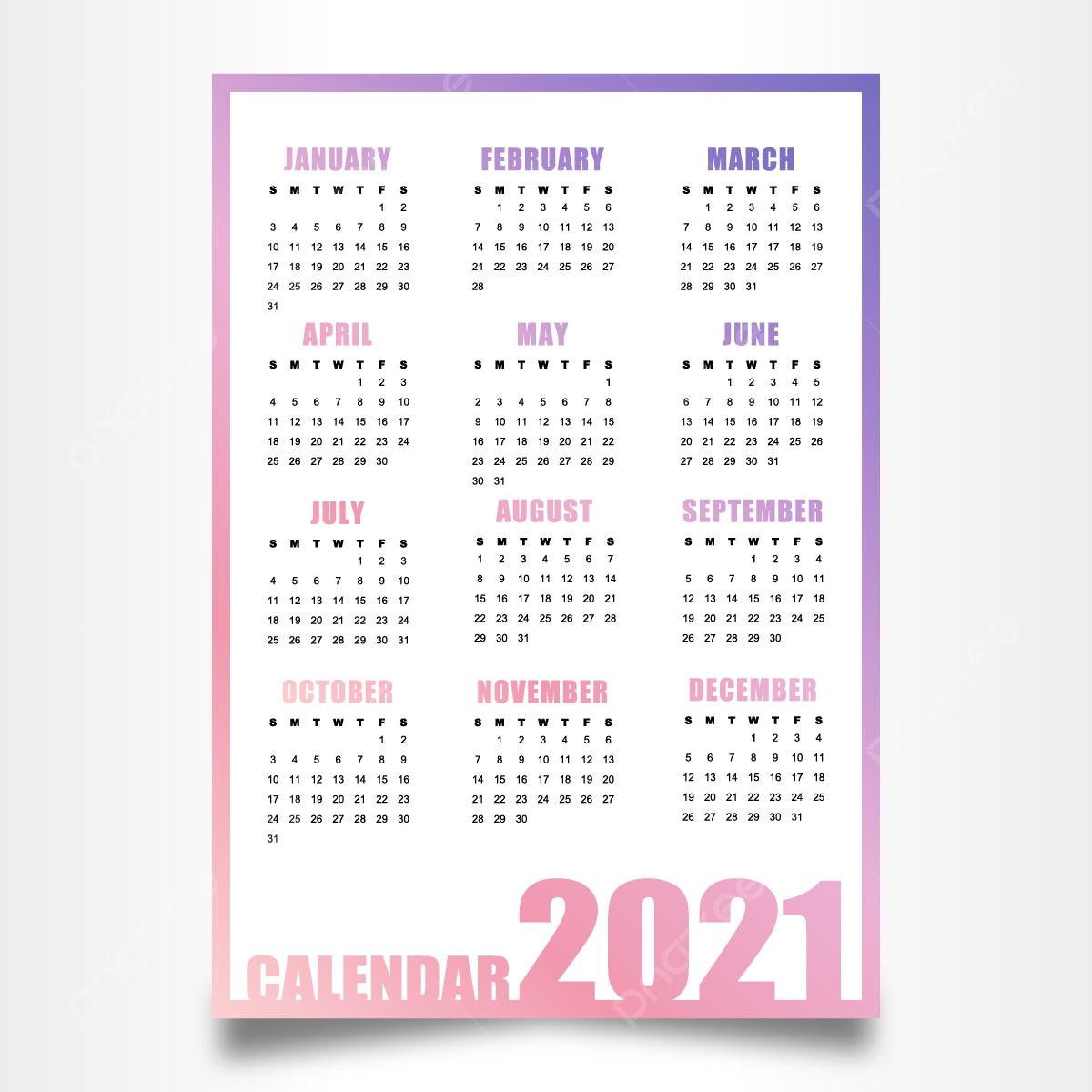 Conception De Calendrier 2021 Avec Modèle De Vecteur De Couleur