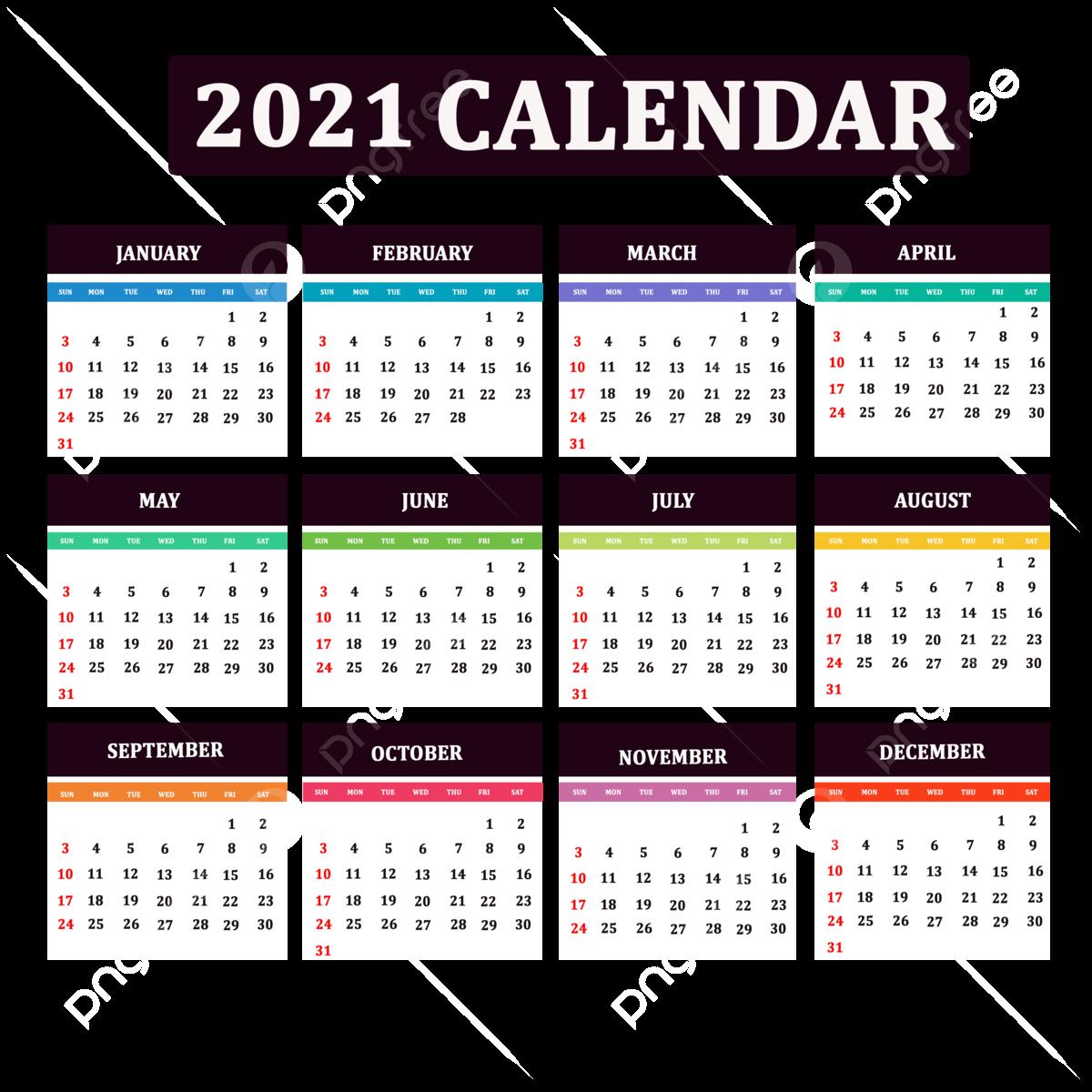 Modèle De Calendrier 2021 Avec Un Design De Fond Modèle de