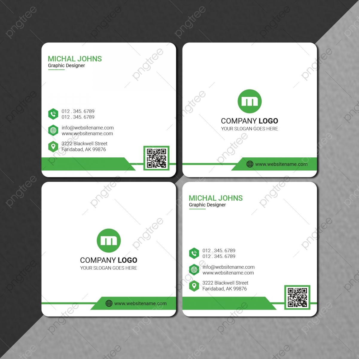 Creative Square Business Card With Qr Code Template Download on ...