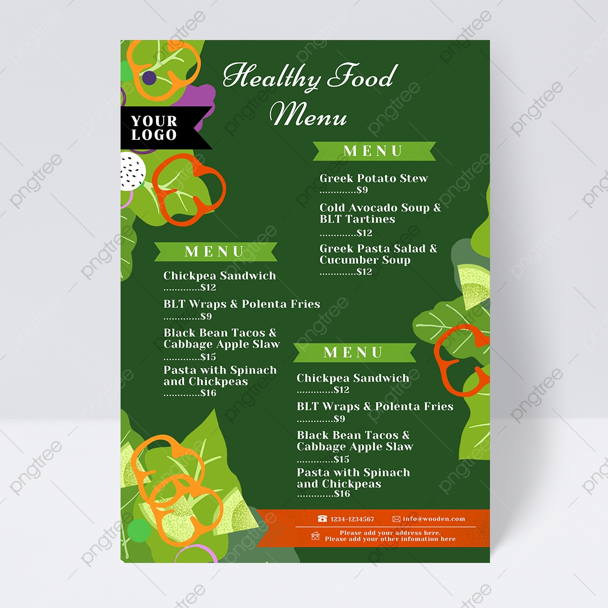 Healthy Restaurant Menu With Green Vegetables Template Download On Pngtree