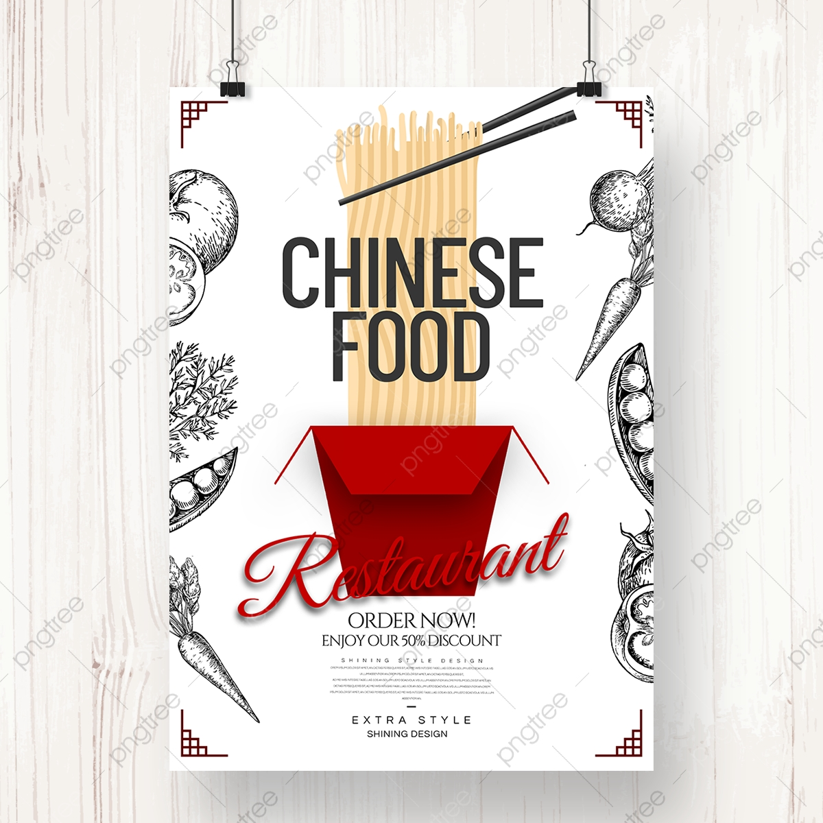 Simple Hand Drawn Cartoon Style Gourmet Chinese Restaurant Theme Poster Template Download On Pngtree