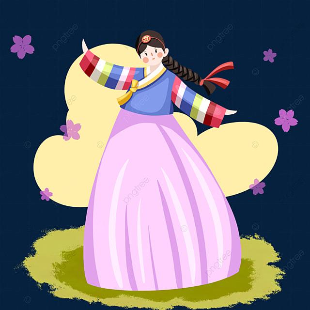 cartoon style hanbok female elements