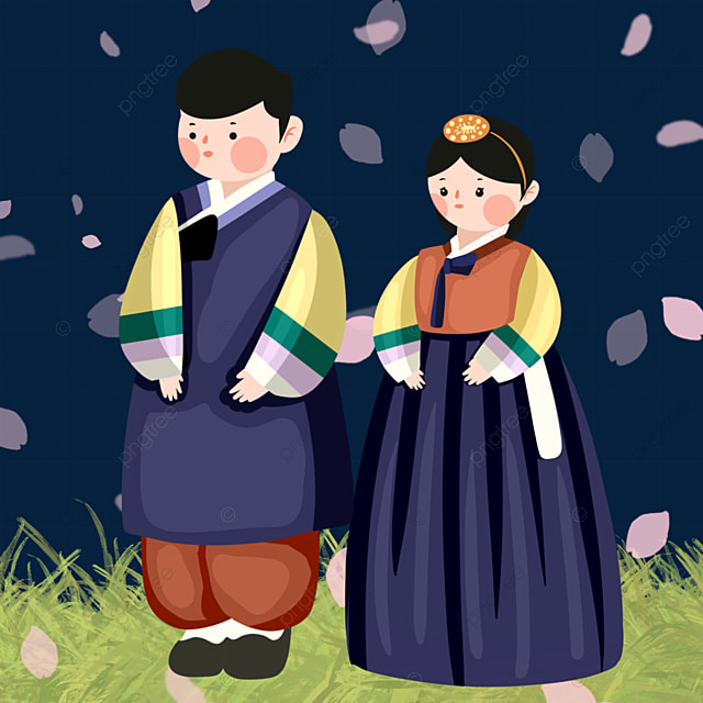 cartoon style korean traditional costume characters