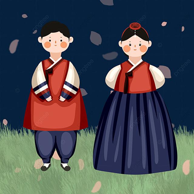 color cartoon hanbok character elements