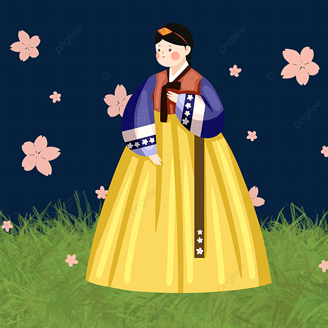 color hand drawn hanbok female elements