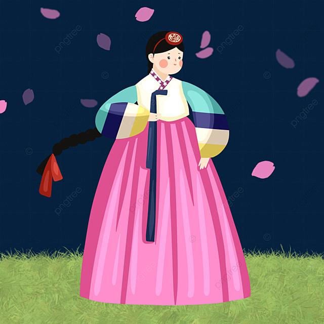 cute style hanbok female elements