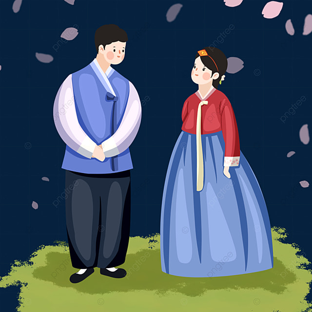 cute style korean traditional costume character