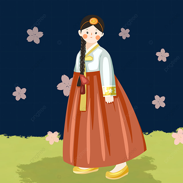 hand drawn style korean traditional costume characters